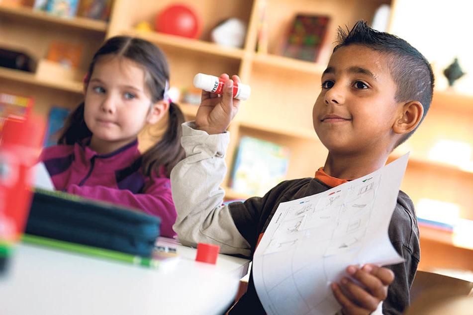 """""""Deutsch als Zweitsprache""""-Unterricht in einer Grundschule in Heidenau. Ziel  ist, dass sie am Regelunterricht teilnehmen."""