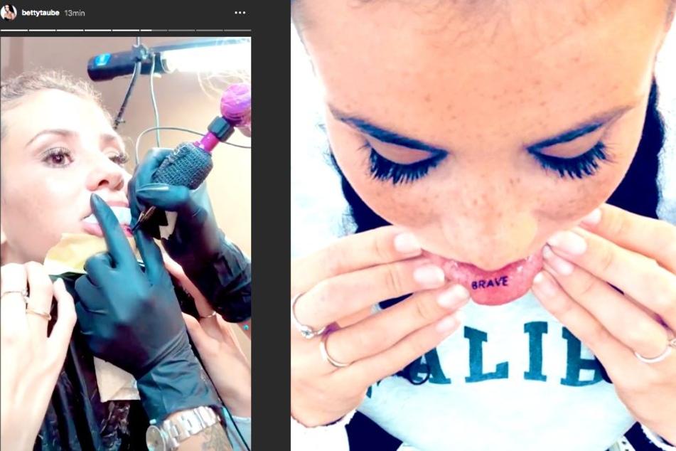 Überraschung! Betty Taube-Günter (23) hat ein neues Tattoo.