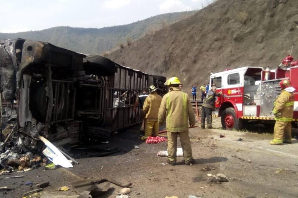 Feuerwehr und Rettungskräfte waren im Einsatz, die Landstraße wurde gesperrt.