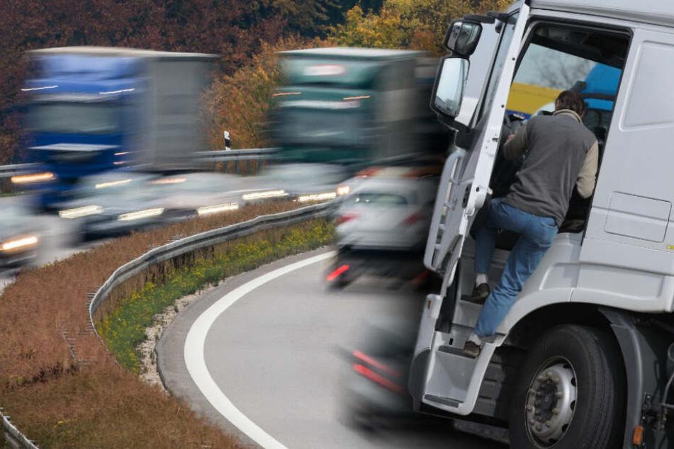 Betrunken und mit Haftbefehl gesucht: Lkw-Fahrer streift Leitplanke und landet im Graben