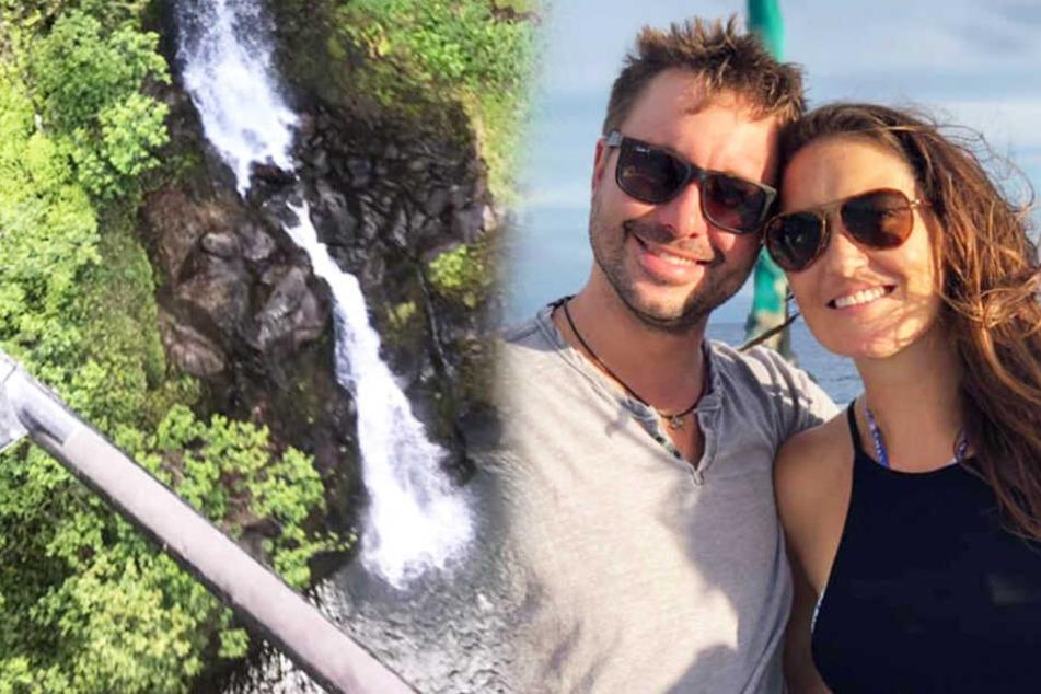 Amanda Eller (35) mit ihrem Freund (re.) vor ihrem Verschwinden. In der Schlucht (links) wurde sie gefunden.