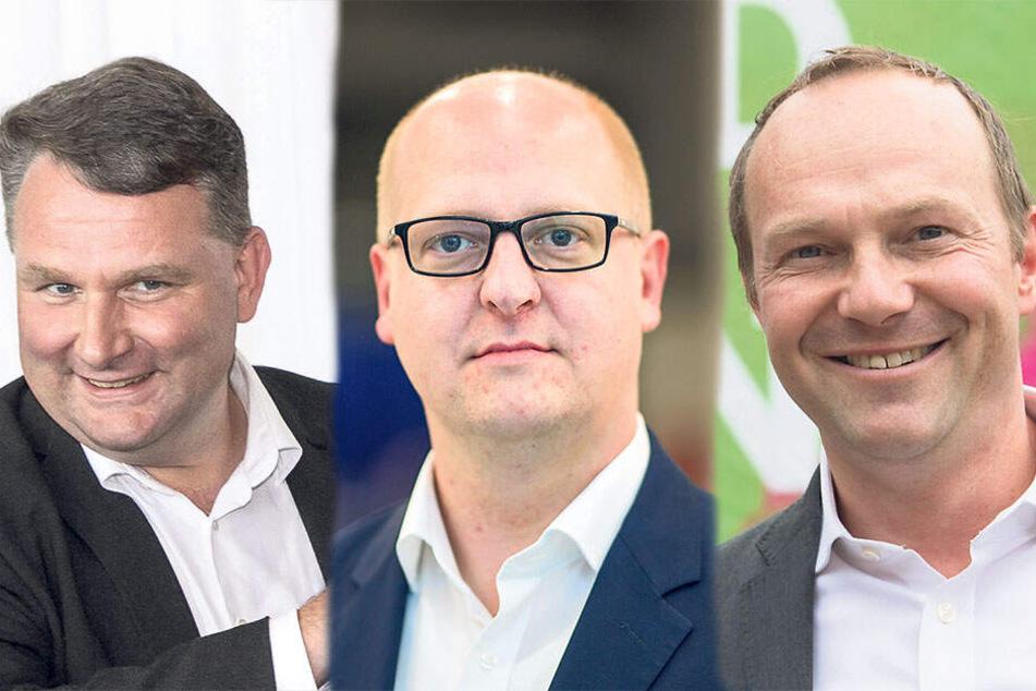CDU Fraktions-Chef Christian Hartmann (45, l), SPD-Generalsekretär Henning Homann (39), Grünen-Co-Spitzenkandidat Wolfram Günther (46)