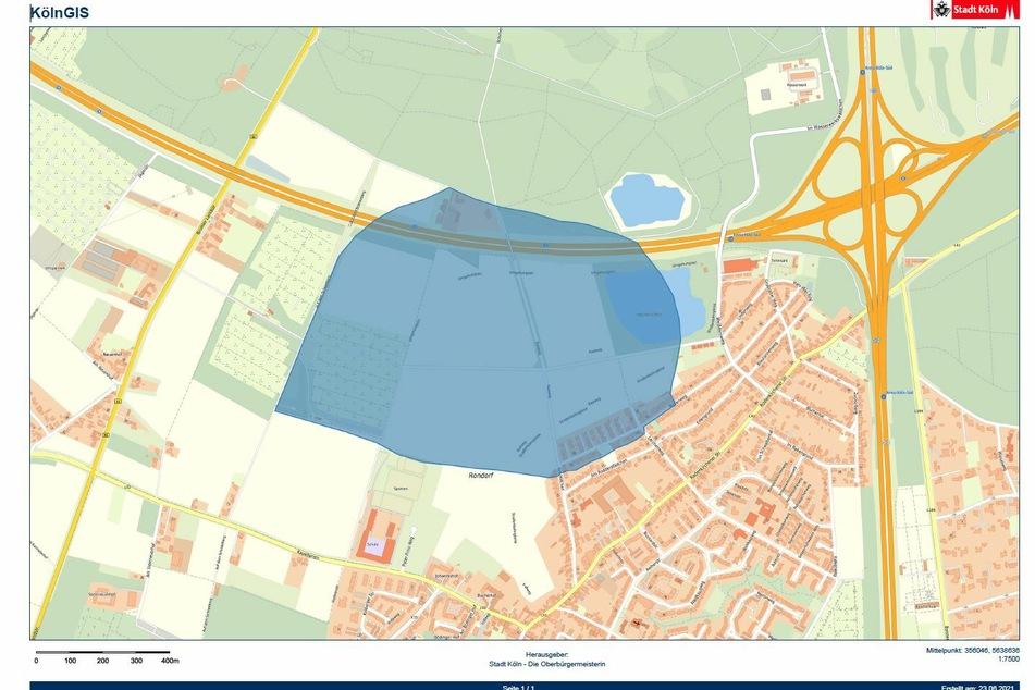 Die Bomben amerikanischer Bauart müssen noch am Donnerstag entschärft werden. Die Grafik der Stadt Köln zeigt den Evakuierungsbereich an.