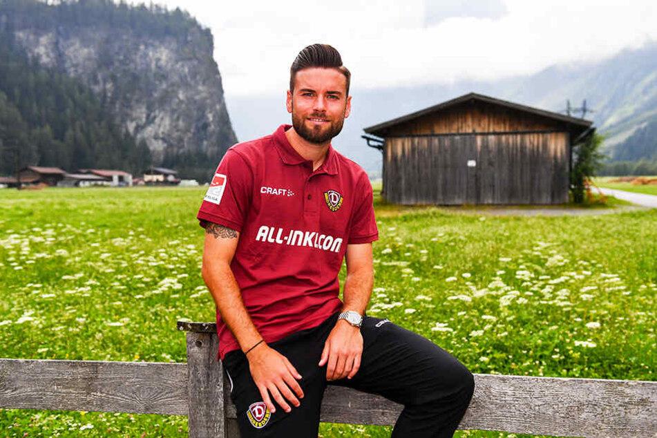 Entspannung! Niklas Kreuzer genießt hinter dem Dynamo-Teamhotel in Längenfeld die frische Luft, die Ruhe und den Anblick der Berge.