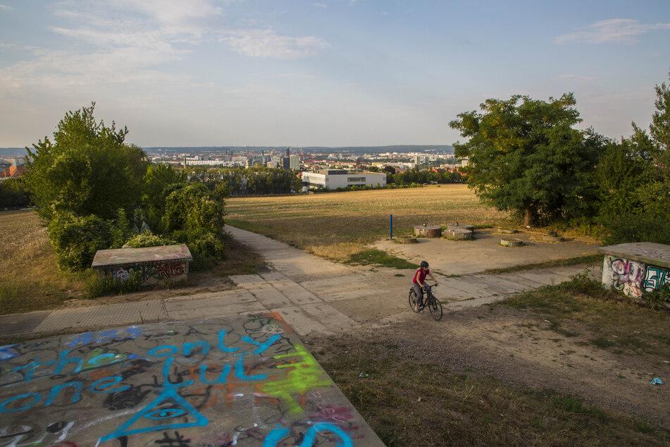 Freier Raum für Ideen mit Weitblick: Das Planungsgebiet für den Südpark kennzeichnet ein starker Höhenunterschied. Er beträgt vierzig Meter zwischen Kohlenstraße und Nöthnitzer Straße.