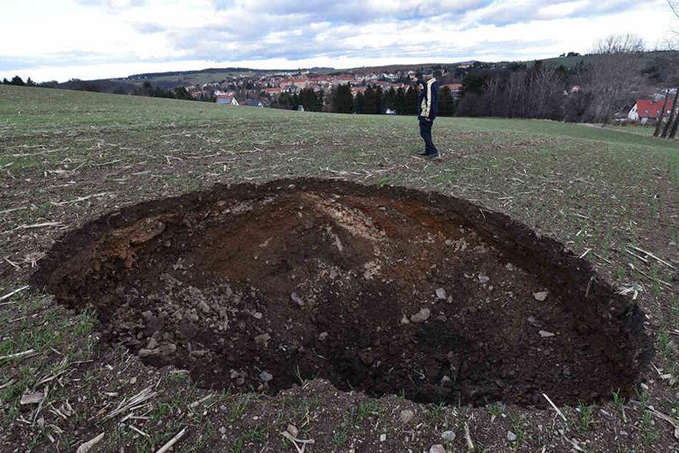 Das Loch bei Dippoldiswalde wurde nach Weihnachten von Spaziergängern entdeckt.