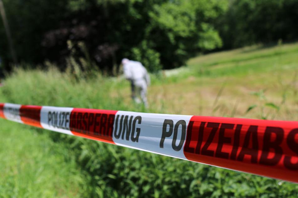 Die Kriminalpolizei untersucht eine Wiese in Wilkau-Haßlau (Sachsen) nach Hinweisen zum Fund eines toten Säuglings.