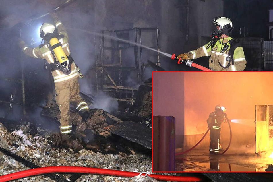 Brandstiftung? Feuer auf Firmen-Gelände in der Großenhainer Straße ausgebrochen