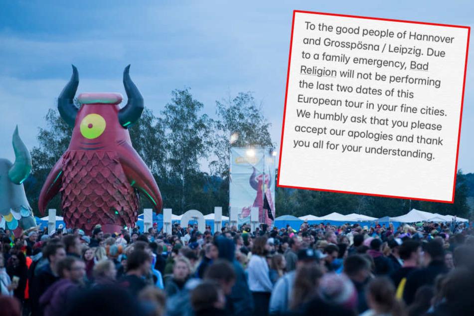Auf Twitter verkündete die Band Bad Religion, dass sie am Samstag nicht auftreten kann.
