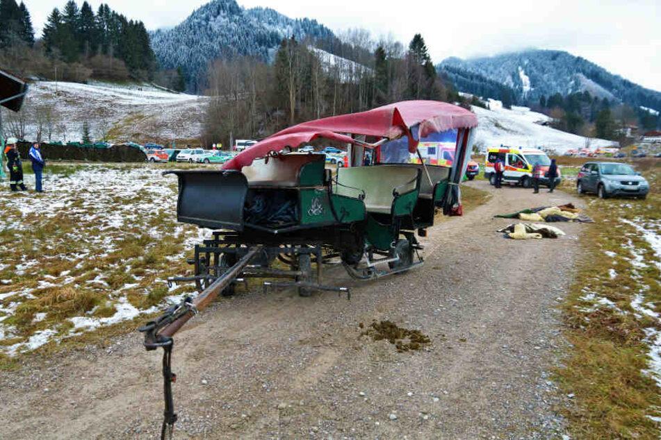 Die Kutsche stieß mit einer anderen zusammen und kippte um.