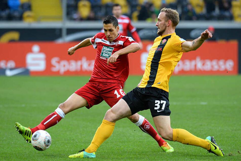 Leistner, hier noch im Trikot von Dynamo, im Zweikampf gegen Lauterns Karim Matmour.
