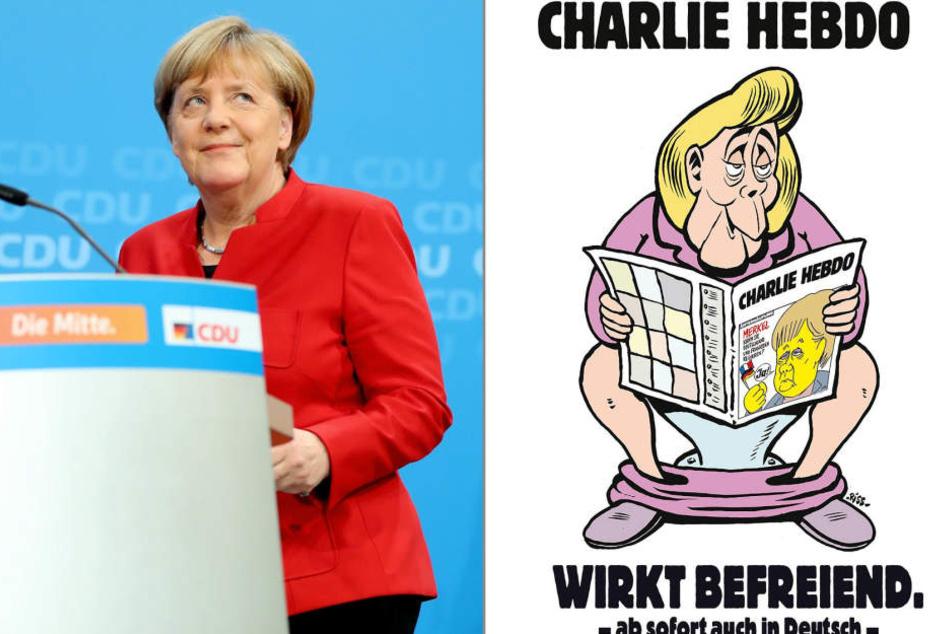 Charlie Hebdo wirbt mit Angela Merkel für die erste Ausgabe in Deutschland.