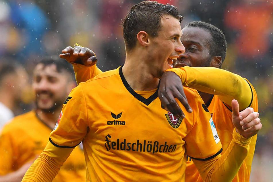 Gegen den SV Sandhausen erzielte Philipp Heise sein erstes Tor für die SGD vor heimischen Publikum.