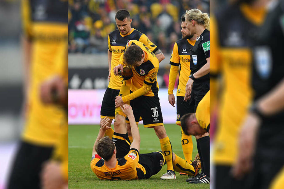 Kurz vor Schluss wurde Marco Hartmann von Wadenkrämpfen geplagt - Niklas Hauptmann eilte sofort zur ersten Hilfe.