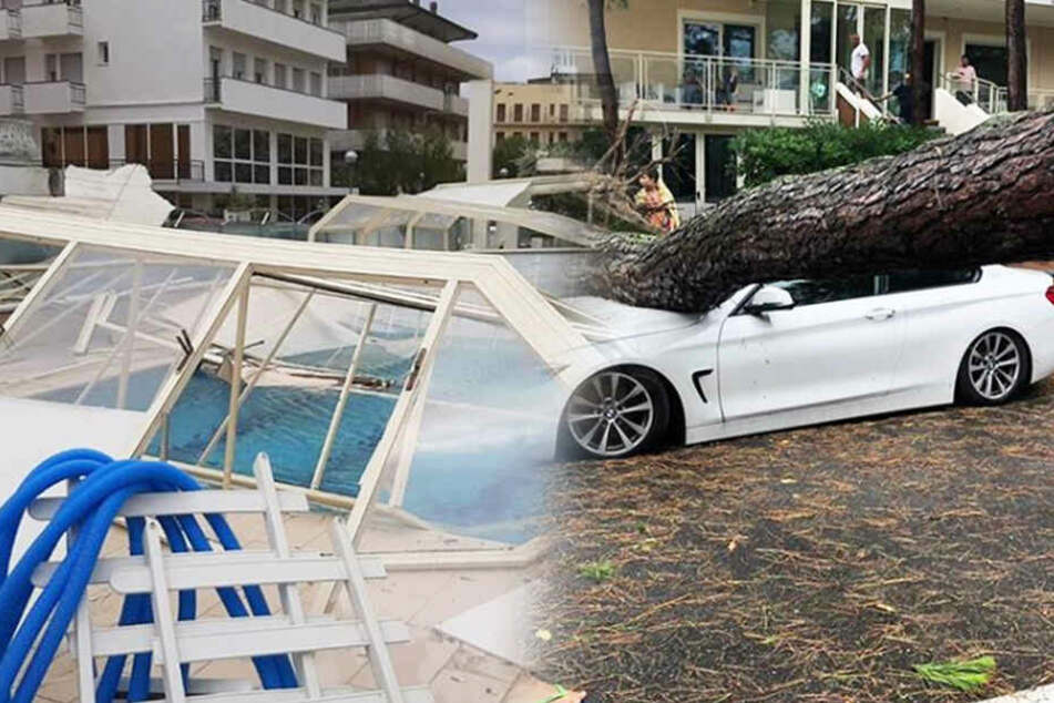 Ein verwüstetes Schwimmbad und ein Baum, der auf ein Auto gekracht ist, zeugen von dem heftigen Unwetter in Milano Marittima.