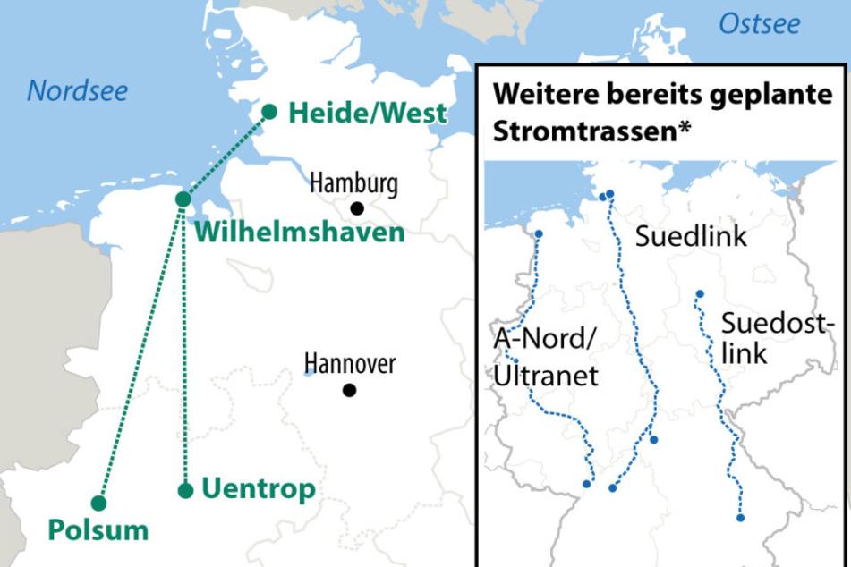 Die neue Stromtrasse könnte von Norddeutschland nach NRW führen.