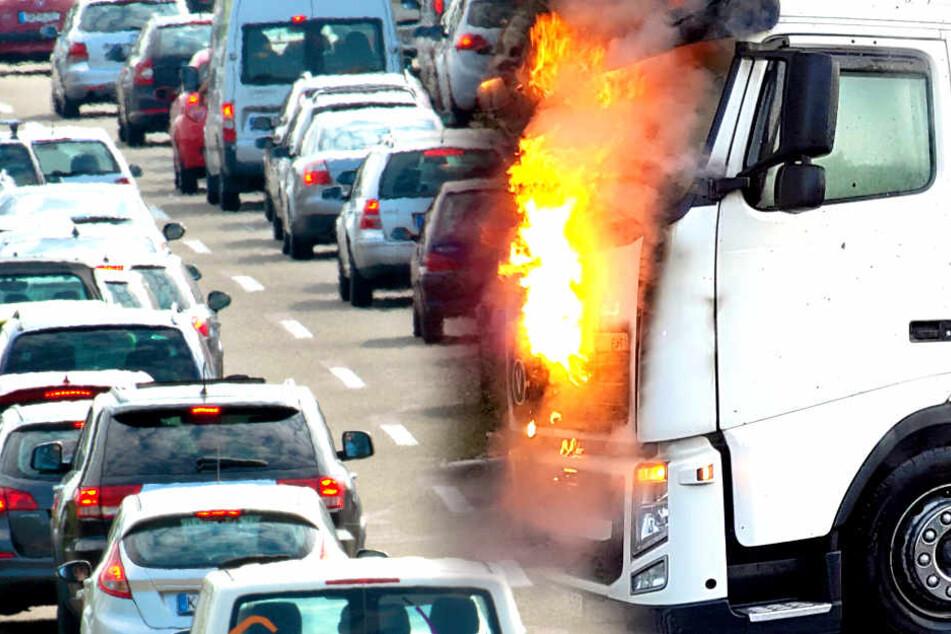 Ein brennender Lkw sorgt seit Montagabend für Chaos auf der A24 (Symbolbild).
