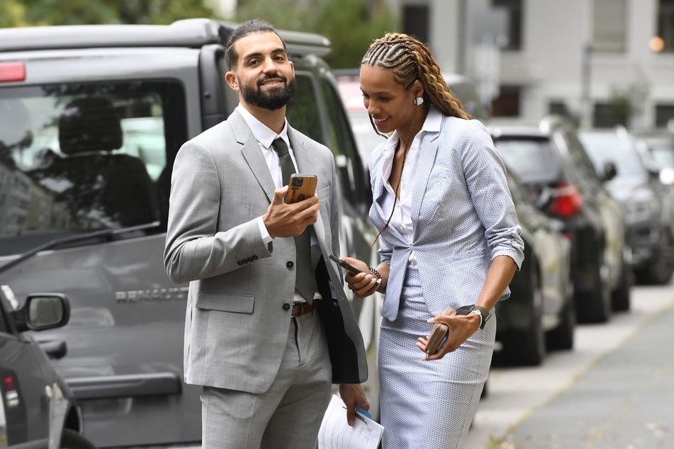 Basketballspieler Joshiko Saibou (30) und seine Freundin, die Weitspringerin Alexandra Wester (26), kommen ins Arbeitsgericht zu einem Gütetermin.
