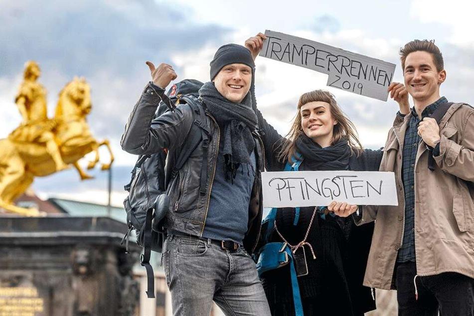 Guido Droth (32,v.l.), Elisa Stahnke (28) und Sebastian Kühn (27) lassen Tramperrennen wieder aufleben.