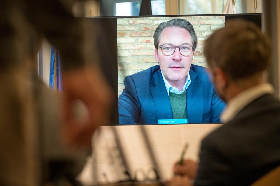 Bundesverkehrsminister Andreas Scheuer (46, CSU) besuchte gestern per Video-Schalte die Sächsische Staatskanzlei.