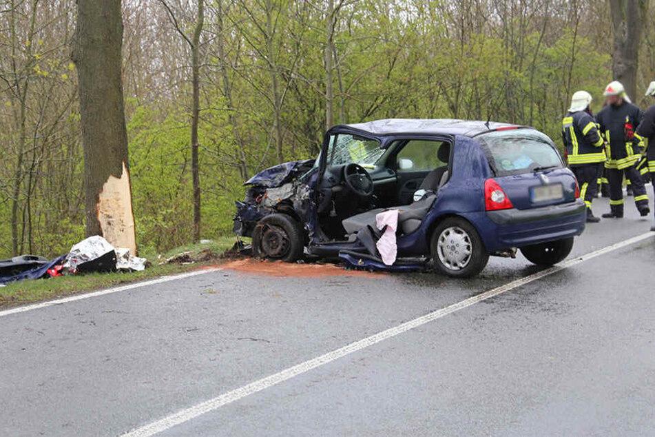 Der Renault krachte gegen einen Straßenbaum.