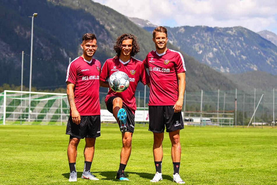 Ösi-Fraktion: Sascha Horvath (l.), Matthäus Taferner (M.) und Patrick Möschl wollen gemeinsam für Dynamo Dresden auf dem Feld stehen.
