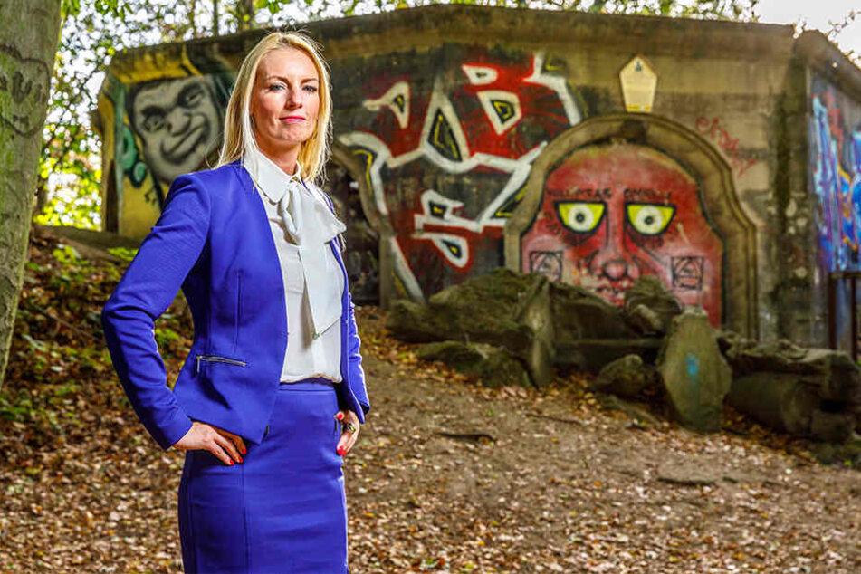 SPD-Stadträtin Kristin Sturm (32) hat einen Verein gegründet, der den Wiederaufbau des Turms auf dem Wolfshügel stemmen soll.