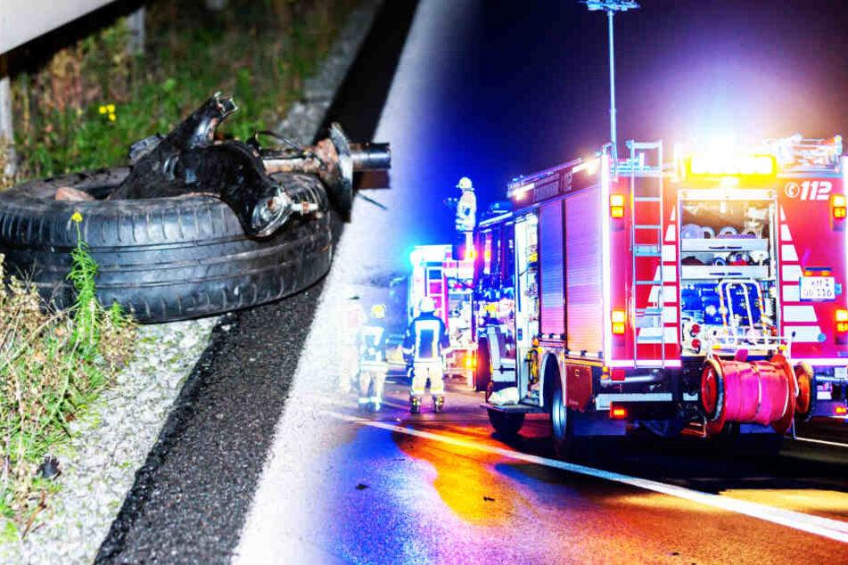 Heftiger Unfall auf A4: Auto zerfetzt, Straße gleicht Trümmerfeld