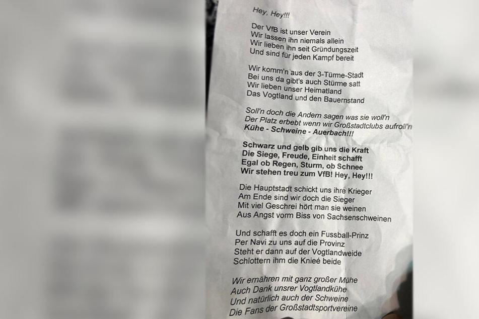Der Liedtext zur neuen Vereinshymne.