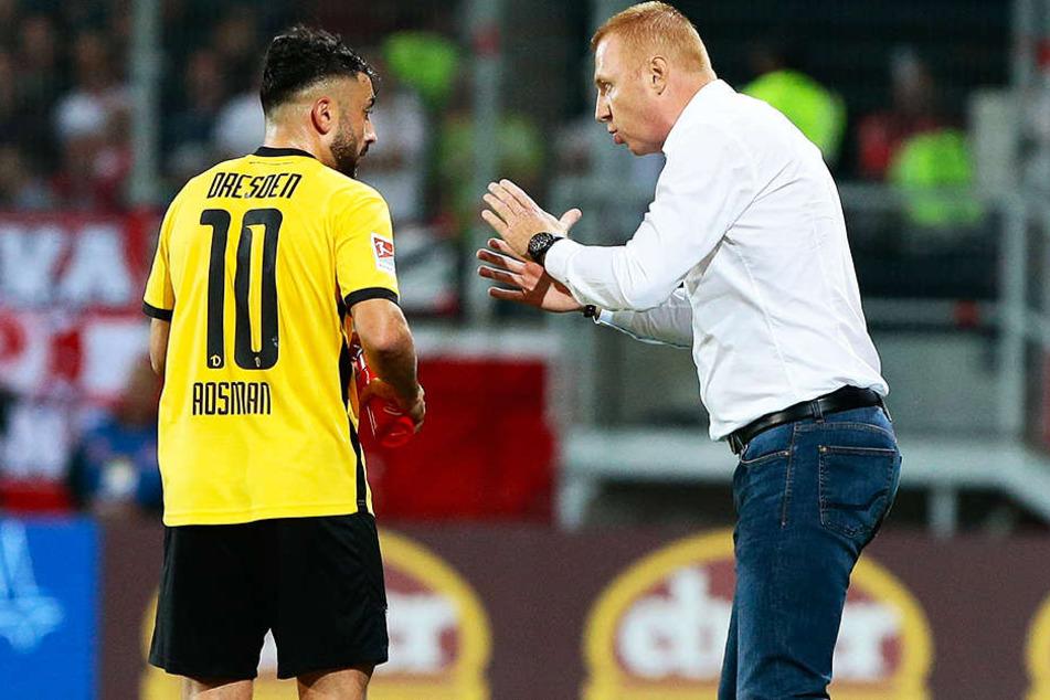 Dynamo-Trainer Maik Walpurgis (r.) gab Aias Aosman in der Offensive alle Freiheiten - das ging auf.
