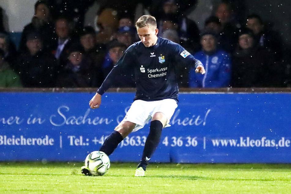 Paul Milde erzielte in Nordhausen sein zweites Tor in der diesjährigen Regionalliga-Saison.