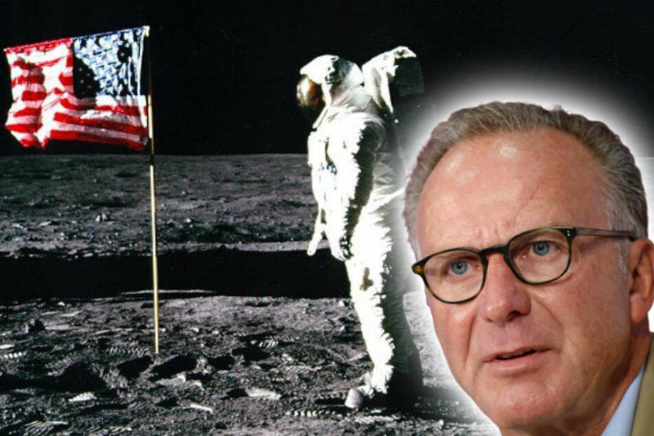 Karl-Heinz Rummenigge (63), Vorstandsvorsitzender des FC Bayern München erinnert sich noch genau an die Mondlandung 1969. (Bildmontage)