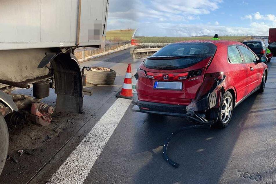 Reifen löste sich plötzlich: Zwei Lkw und vier Autos in Crash auf A17 verwickelt