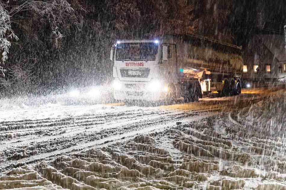 Heftiger Schneefall in der Lausitz.