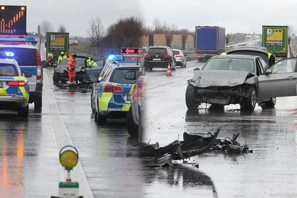 BMW gerät auf A4 ins Schleudern und kracht in Lkw: Stau Richtung Görlitz
