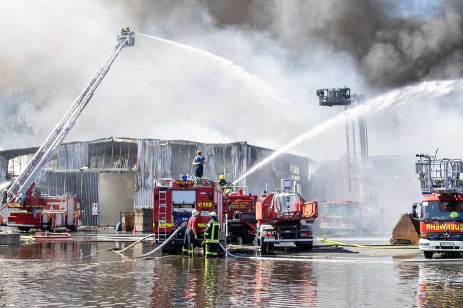 Großbrand noch immer nicht gelöscht: Recyclinghof brennt weiter