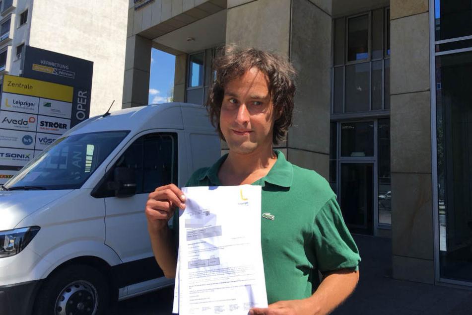 Um diese Zahlungsaufforderung geht es: Jürgen T. (43) sollte bereits kurz nach der Straßenbahnfahrt 22 statt der ursprünglich angesetzten sieben Euro zahlen.