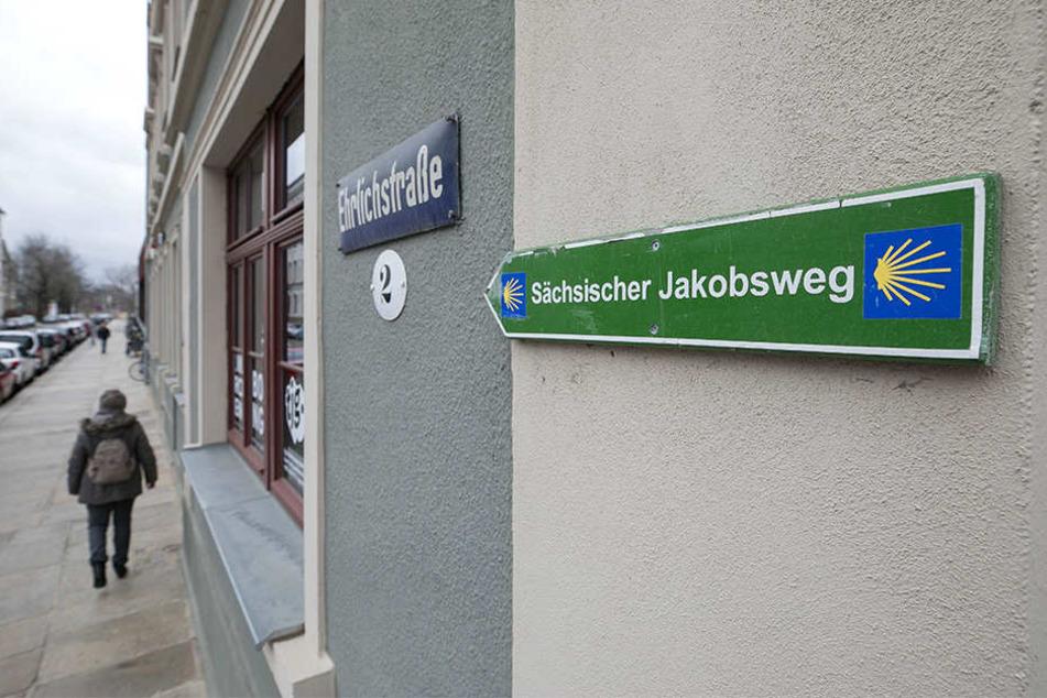 Im Zeichen der (symbolischen) Jakobsmuschel: Solche Schilder weisen den Wallfahrern den Weg durch Dresden.