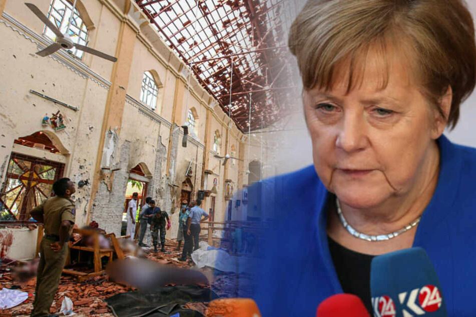 Angela Merkel zeigt sich bestürzt über die Terroranschläge in Sri Lanka.