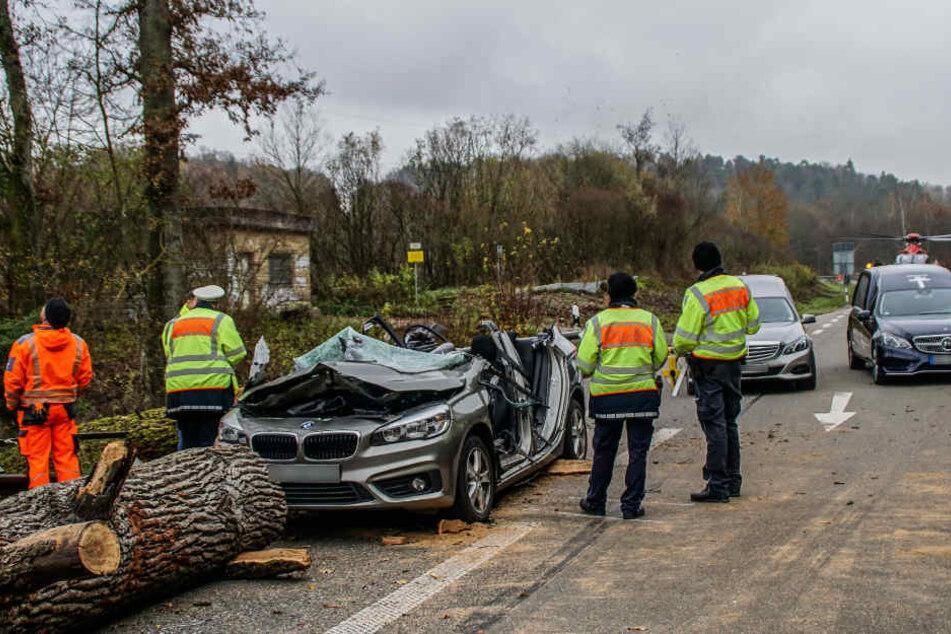 Als der Baum auf den Wagen stürzte, kamen die beiden Frauen ums Leben.