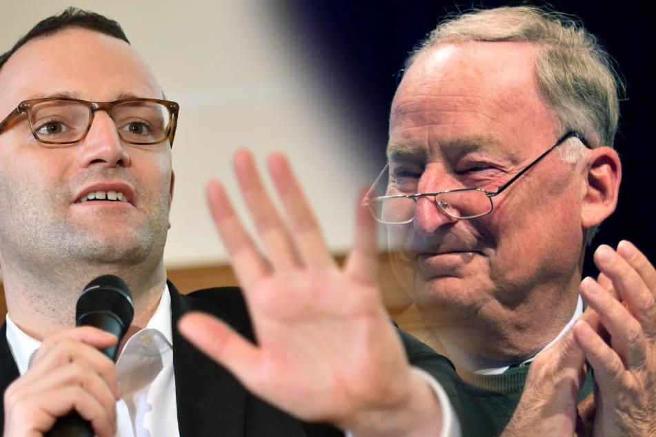 Jens Spahn (37, CDU, li.) wird in einem Offenen Brief von Alexander Gauland (76, AfD) gelobt.