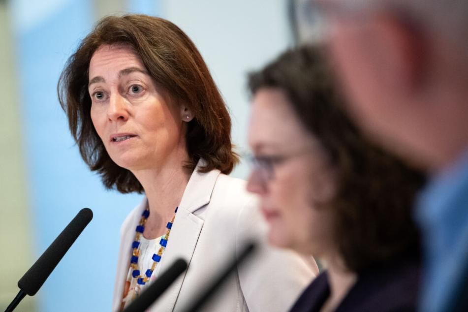 Katarina Barley bei einem Pressetermin in Berlin.