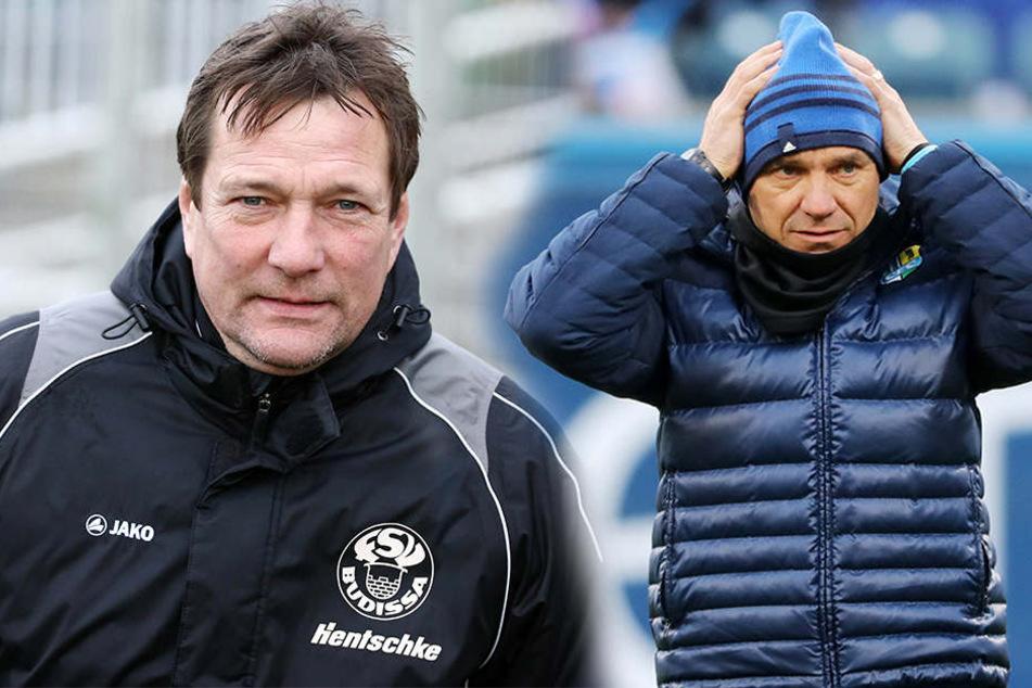 Wird Budissa-Coach Torsten Gütschow (l.) beim CFC Nachfolger von Horst Steffen (r.)?