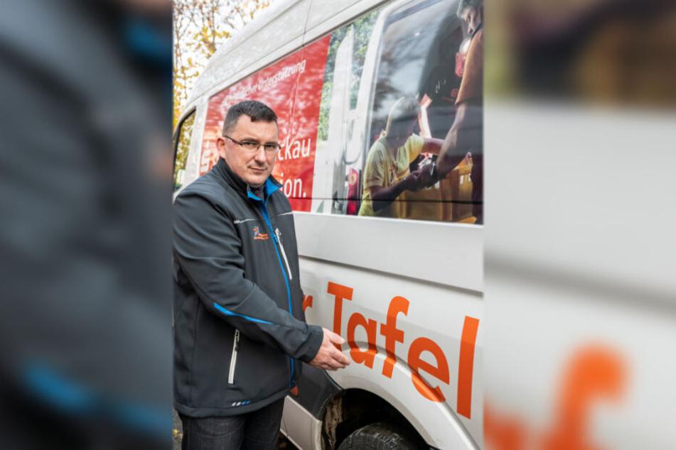 Jens Juraschka (45) vom Tafel-Trägerverein Gemeinsam Ziele erreichen, freut sich über die hohe Spendenbereitschaft.
