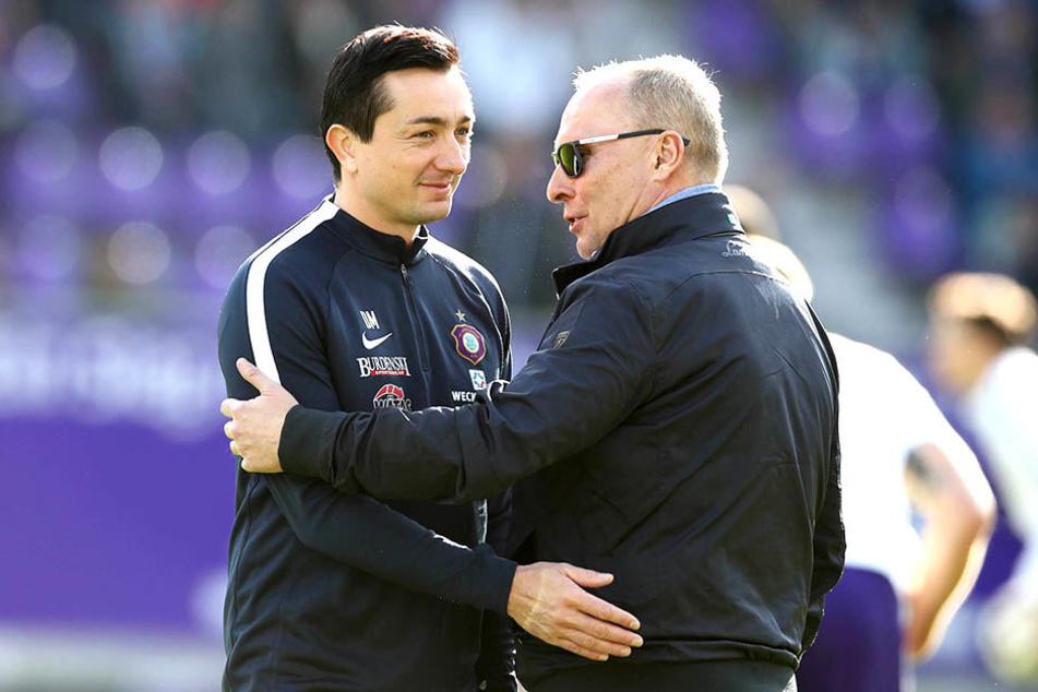 Der Trainer und sein Chef: Daniel Meyer (l.), Helge Leonhardt.