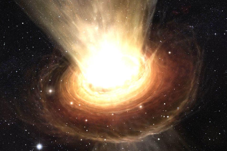 Hier ist die Umgebung des supermassereichen Schwarzen Lochs im Herzen der aktiven Galaxie NGC 3783 im südlichen Sternbild Centaurus zu sehen.