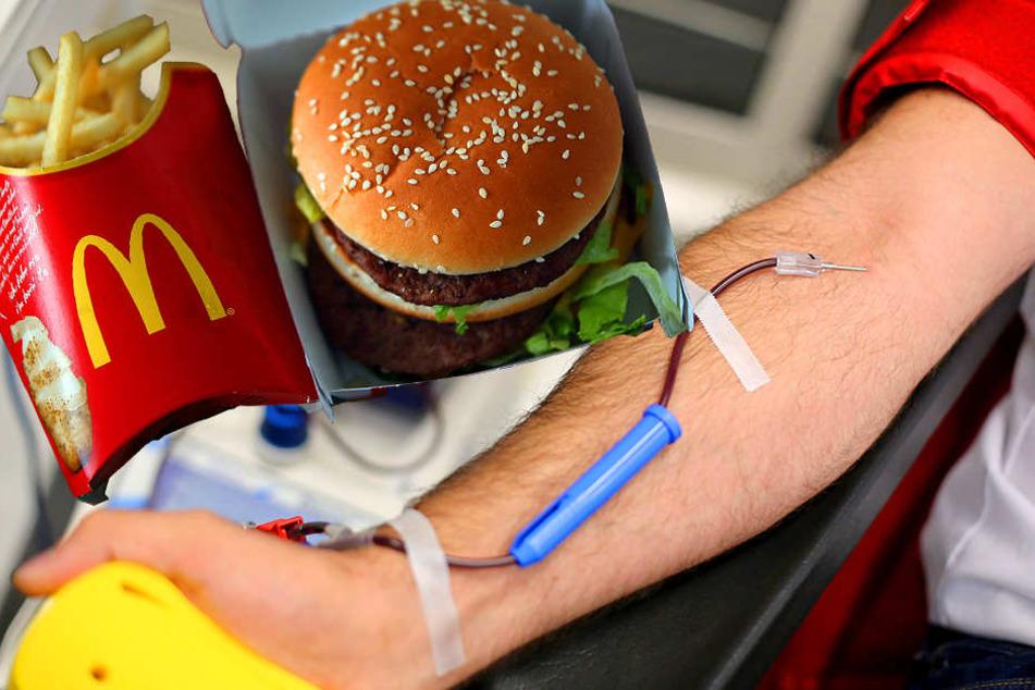 Erst Blut spenden, dann das McMenü sichern.