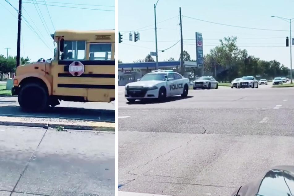 Der Elfjährige kann kaum über das Lenkrad des Schulbusses schauen und wird dabei von mindestens 14 Polizeiautos verfolgt.