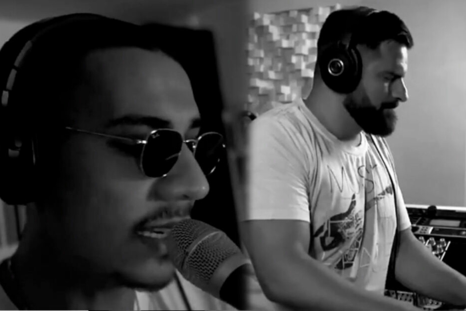 """Rapper Apache 207 (links) singt in einem Videoschnipsel zu den Keyboard-Tönen von Fitness-Coach """"ditonmula"""" (rechts), der den Clip in seiner Instagram-Story hochlud. (Fotomontage)"""