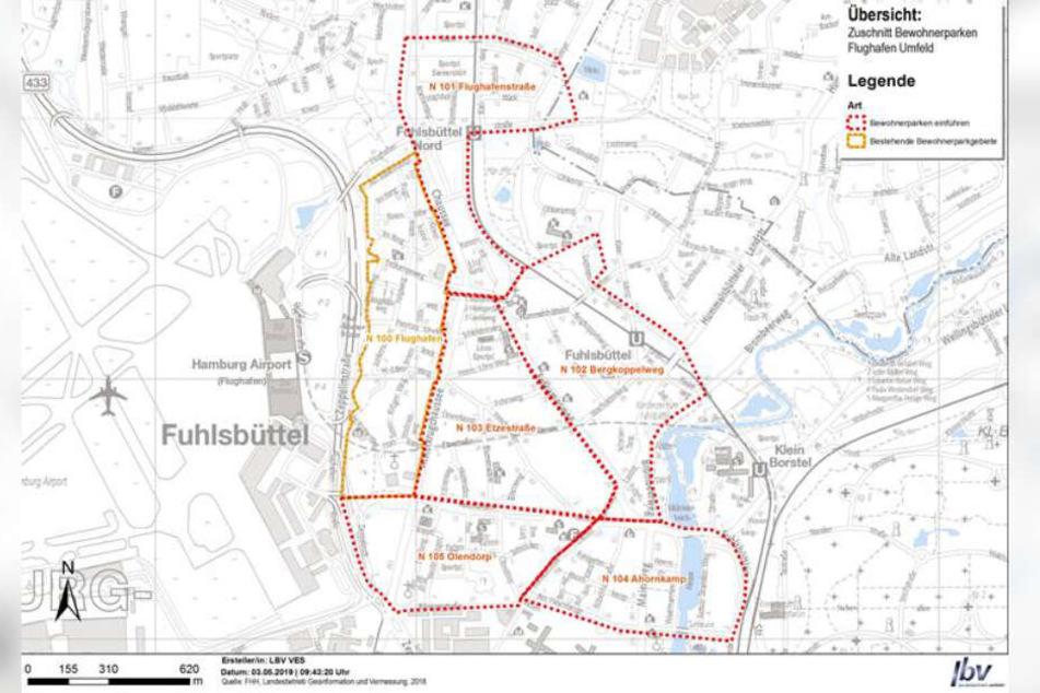 Hier entstehen die neuen, zusätzlichen Anwohnerparkzonen in Hamburg-Fuhlsbüttel (rot).